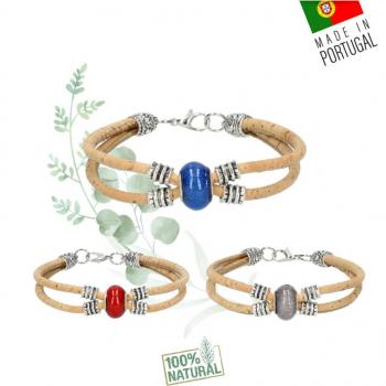 Bracelet Vegan en liège perle scintillante - Bracelet femme brillant