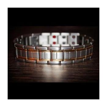 Bracelet gris homme Double liseret 9 composants  L14mm