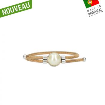"""Bracelet liège """"Grande perle"""" artisanal"""