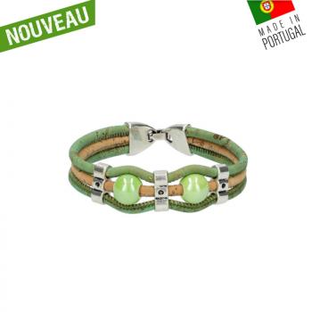 """Bracelet liège """"Perles vertes"""" artisanal"""