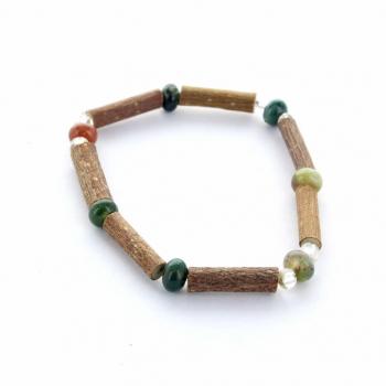 Bracelet en bois de noisetier et Agate Indienne