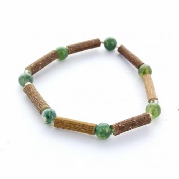 Bracelet de noisetier et pierre Agate mousse