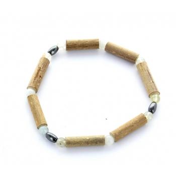 Bracelet de Noisetier | Aigue Marine | Hématite | Modèle 2 | 15cm