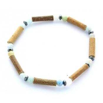Bracelet de Noisetier | Aigue Marine | Hématite | Modèle 1 | 17cm