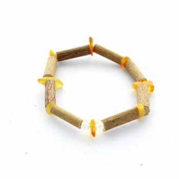 Bracelet en bois de noisetier et ambre et cristal de roche