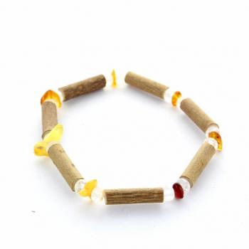 bracelet en bois de noisetier ambre et cristal de roche