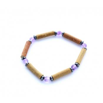 Bracelet de Noisetier | Améthyste | Hématite | Modèle 1 | 14cm