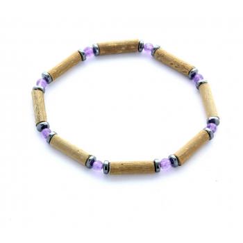 Bracelet de Noisetier | Améthyste | Hématite | Modèle 1 | 18cm