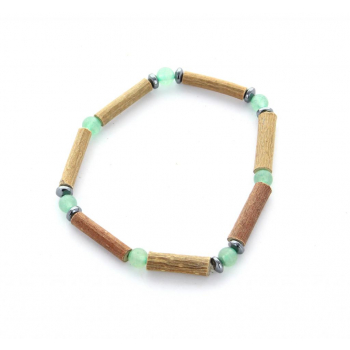 Bracelet de noisetier | Aventurine verte | hématite | modèle 1 | 15cm