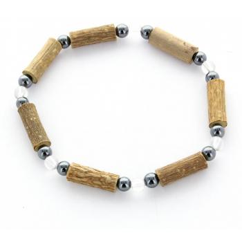 Bracelet de Noisetier | Cristal de Roche | Hématite | Modèle 2 | 16cm