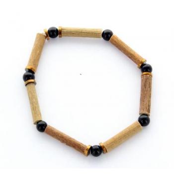 Bracelet de Noisetier   Dolomite Noire   Hématite   Modèle 2   14cm