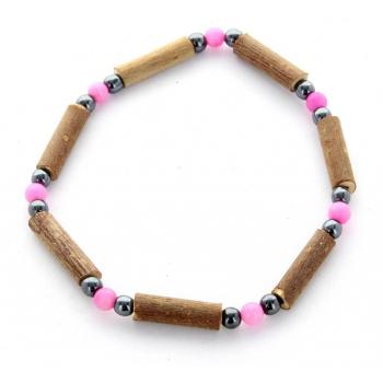 Bracelet de Noisetier | Dolomite Rose | Hématite | Modèle 1 | 17cm