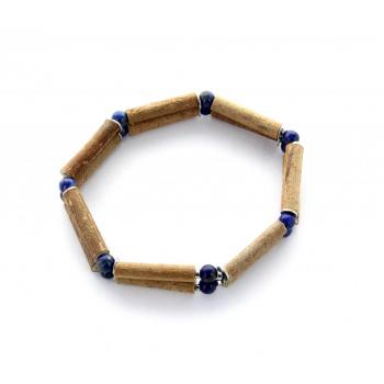 Bracelet Double Noisetier et Lapis Lazuli de 14cm
