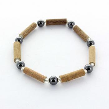 Bracelet en bois de noisetier et hématite
