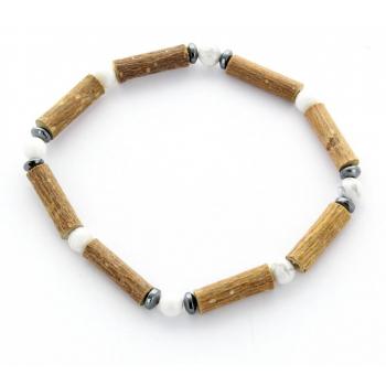 Bracelet de Noisetier | Howlite | Hématite | Modèle 1 | 16 cm