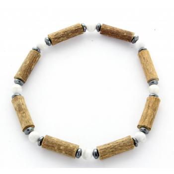 Bracelet de Noisetier | Howlite | Hématite | Modèle 1 | 17 cm