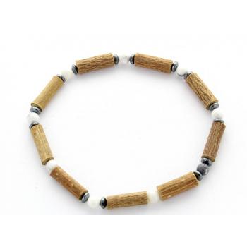 Bracelet de Noisetier | Howlite | Hématite | Modèle 1 | 18 cm