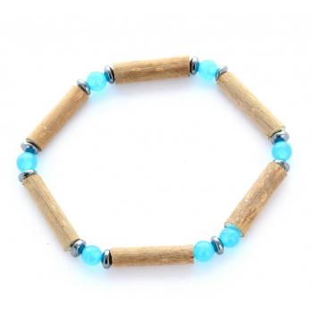 Bracelet de Noisetier | Jade blanc | Bleu | Hématite | Modèle 1 | 14cm