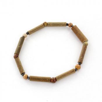 Bracelet en Noisetier et pierre Jaspe Naturel