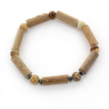 Bracelet de Noisetier | Jaspe Naturel | Hématite | Modèle 4 | 16  cm