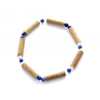 Bracelet de Noisetier, Lapis Lazuli et Cristal de Roche