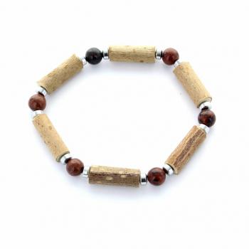 bracelet Noisetier Obsidienne Acajou et hématite