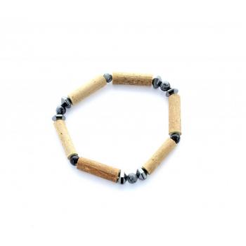 Bracelet Noisetier et Obsidienne