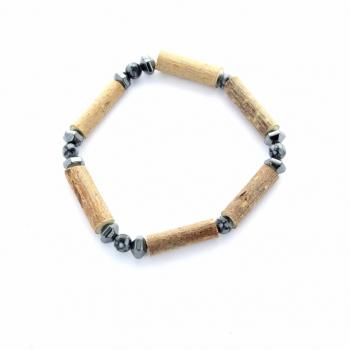 bracelet en bois de noisetier et pierre Obsidienne