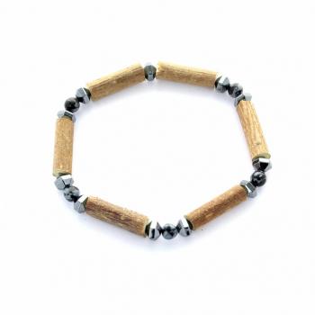 Bracelet en noisetier et pierre Obsidienne