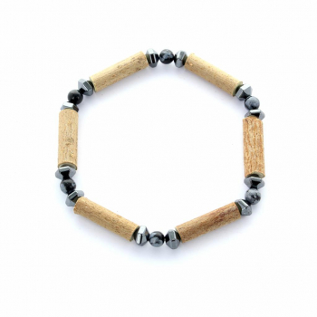 Bracelet en bois de noisetier et pierre Obsidienne et Hématite