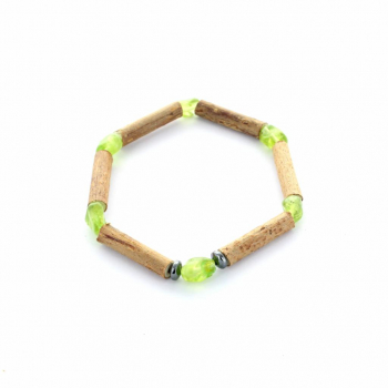 Bracelet bois de noisetier et pierre péridot