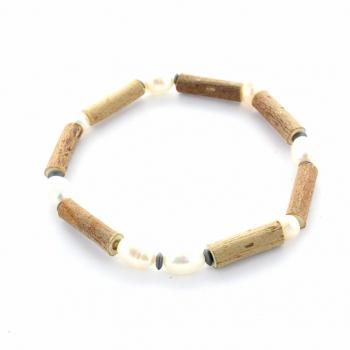 Bracelet Noisetier et Perle d'eau douce de 18cm