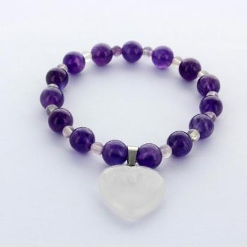 Bracelet en pierre d'Améthyste, Fluorite et coeur en Cristal de Roche