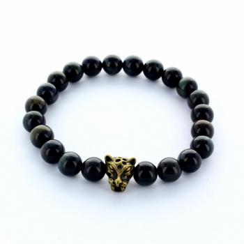 Bracelet en pierre d'Oeil de Tigre bleu ou Oeil de Faucon, entretoise Tête de tigre, pour homme