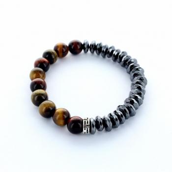 Bracelet artisanal pour homme en pierre Oeil de Tigre et Hématite