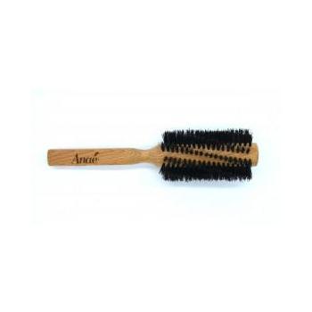 Brosse à cheveux ronde, en bois de hêtre et poils de sanglier
