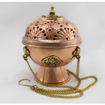 Encensoir Tibétain artisanal en cuivre et laiton pour les encens en Résine - L