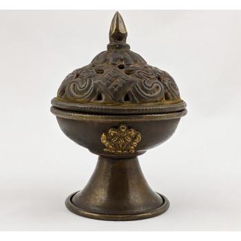 Encensoir / Brûle-encens Tibétain en cuivre et laiton - Encens en Résine - S
