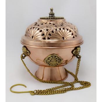 Encensoir Tibétain artisanal en cuivre et laiton pour les encens en Résine - XL