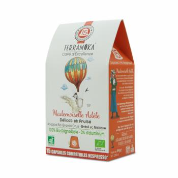 Adèle - 15 capsules biodégradables de café bio - 100% Arabica du Brésil et du Mexique