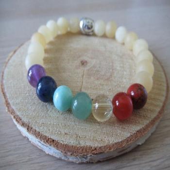 Bracelet 7 chakras et calcite