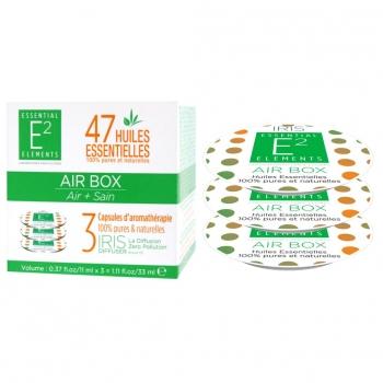 Air Box Trio de Capsules aux 47 Huiles Essentielles naturelles pour un Air PUR et Sain - Diffuseur IRIS de E2 Essential Elements