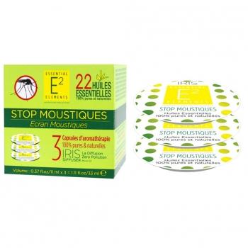 Stop Moustiques Box Trio de Capsules aux 22 Huiles Essentielles naturelles - Diffuseur IRIS de E2 Essential Elements