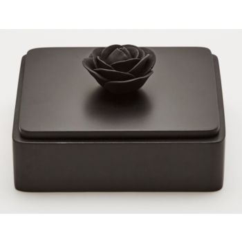 Boîte décorative en bois ornée d'une fleur en porcelaine / BLACK ROSE XL