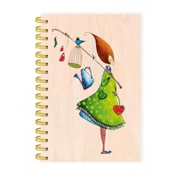 """Carnet de notes couverture bois """"Chaque jour est un cadeau"""""""