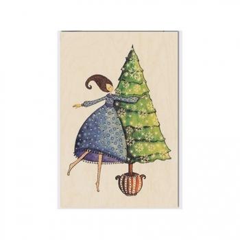Carte de vœux de fin d'année en bois Fête de Noël