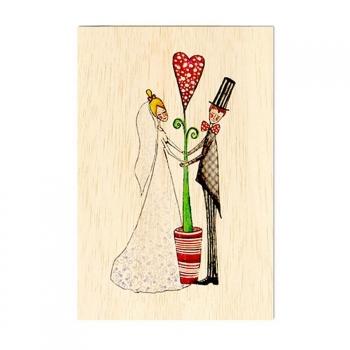 Carte de voeux en bois Amour partagé
