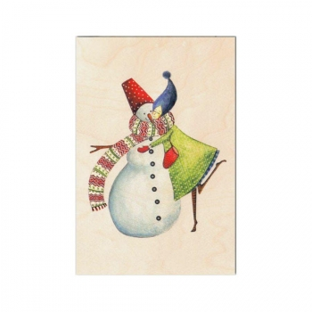 Carte de voeux de fin d'année en bois Bonhomme de neige