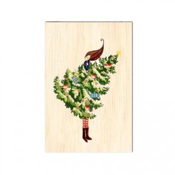 Carte de vœux fin d'année en bois Préparation