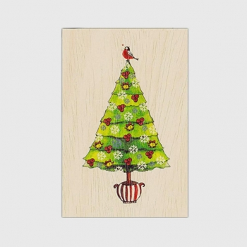 Carte de vœux fin d'année en bois Sapin de Noël